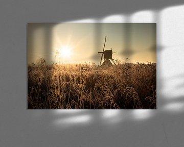 Zonsopkomst met Hollandse molen van Claire Droppert