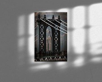 Manhattan Bridge en Empire State Building van Kurt Krause