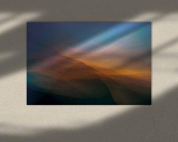 Explosion de lumière, coucher de soleil dans les dunes. sur Kees de Ruijter