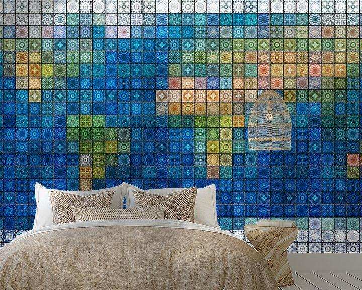 Sfeerimpressie behang: Wereldkaart in mediterraan tegelwerk van Frans Blok