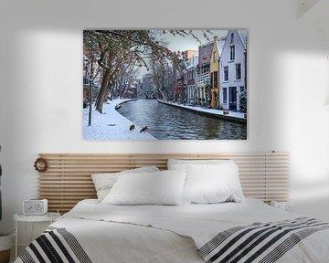 De Twijnstraat aan de Werf op een winterdag, aan de Oude Gracht in Utrecht van Arthur Puls Photography