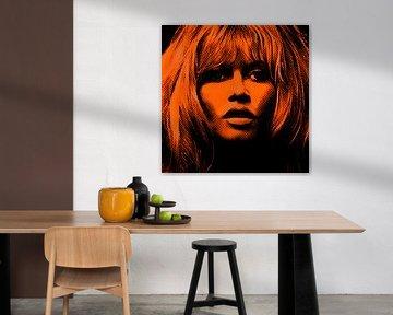 Motiv Brigitte Portrait Bardot - Orange Gold Vintage von Felix von Altersheim