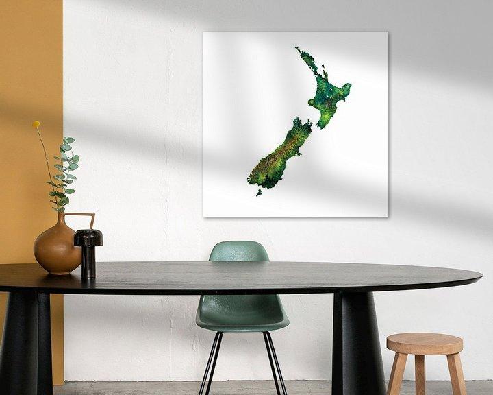 Sfeerimpressie: Nieuw Zeeland | Landkaart in Aquarel van Wereldkaarten.Shop