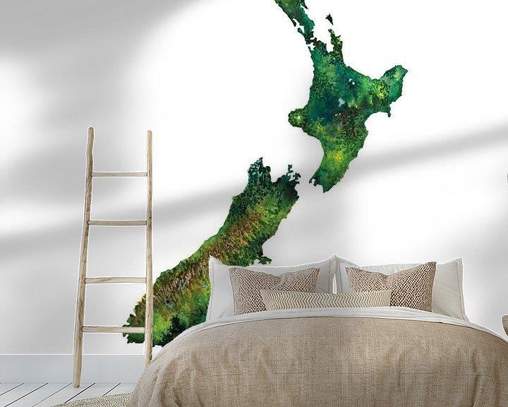 Sfeerimpressie behang: Nieuw Zeeland | Landkaart in Aquarel van Wereldkaarten.Shop