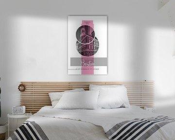 Poster Art BOSTON Faneuil Hall | pink von Melanie Viola