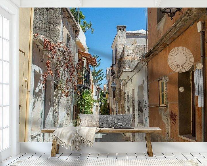 Sfeerimpressie behang: Straatje in Rethymnon (Kreta) van Melvin Fotografie
