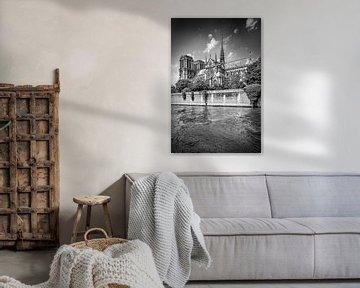 PARIS Kathedrale Notre-Dame | Monochrom von Melanie Viola