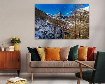 Viaduc sur le Findelbach avec vue sur le Cervin près de Zermatt