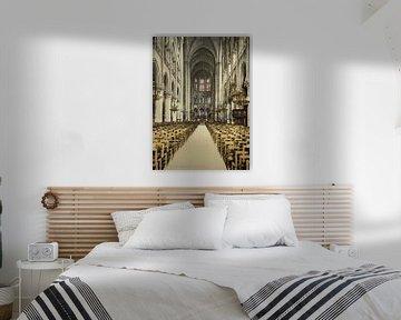 Interieur van de Notre Dame sur Vintage Afbeeldingen