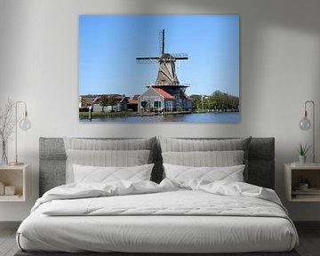 Le moulin à vent Salamander sur la rivière Vliet à Leidschendam