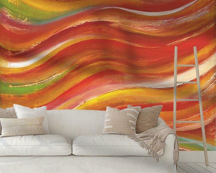 Sfeerimpressie behang: zonsondergang golven van Bojan Eftimov