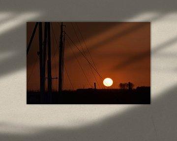 Zonsondergang bij de haven van Henk-Jan Lubbers