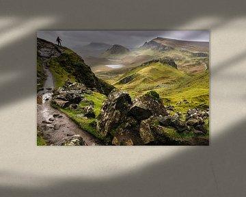 Quiraing, Isle of Skye, Schotland met wolkenlucht van Paul van Putten