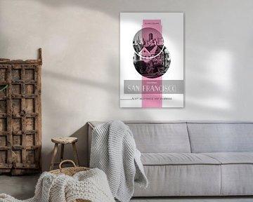 Poster Art SAN FRANCISCO Alamo Square | pink von Melanie Viola