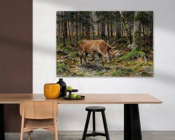 Hirsch auf einer Waldwiese, Richard Friese
