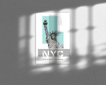 Poster Art NYC Statue of Liberty | türkis von Melanie Viola