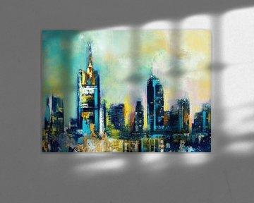 Frankfurt Skyline Malerei von Maria Kitano