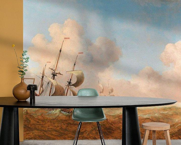 Beispiel fototapete: Ein englisches Schiff in rauem Wasser, Willem van de Velde der Jüngere