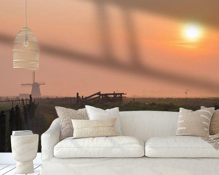 Sfeerimpressie behang: Zonsopkomst langs de Wimmenummervaart van Dirk Sander