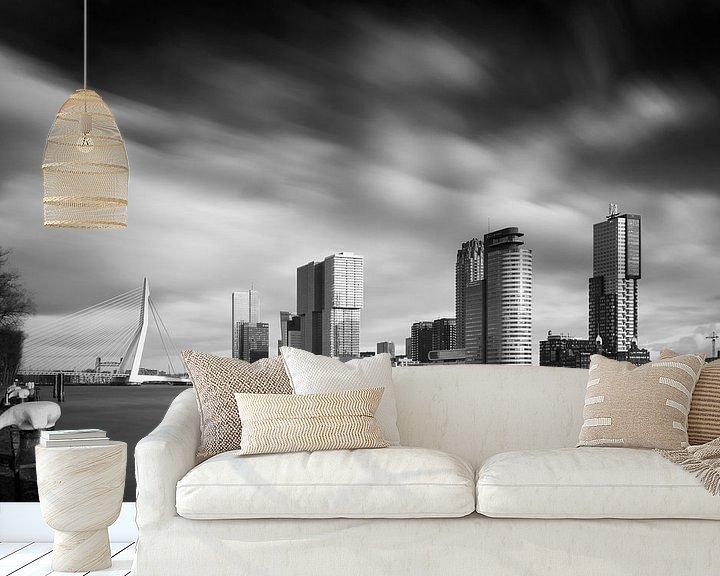 Beispiel fototapete: Kop van Zuid in schwarz und weiß von Arjen Roos