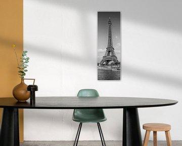 PARIS Eiffeltoren & Rivier Seine Panorama | Monochroom van Melanie Viola