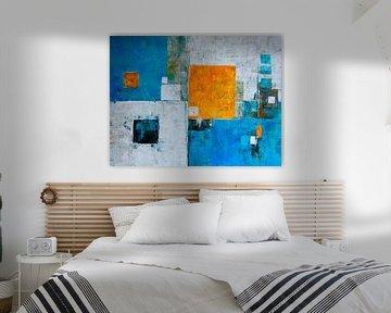 Turquoise en oranje-geel van Claudia Neubauer