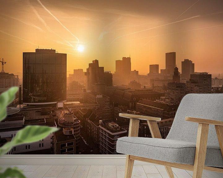 Sfeerimpressie behang: Zonsondergang vanaf de Laurenskerk | Rotterdam van Menno Verheij / #roffalove