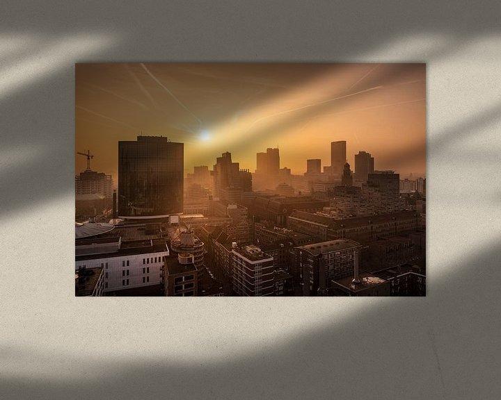 Sfeerimpressie: Zonsondergang vanaf de Laurenskerk | Rotterdam van Menno Verheij / #roffalove