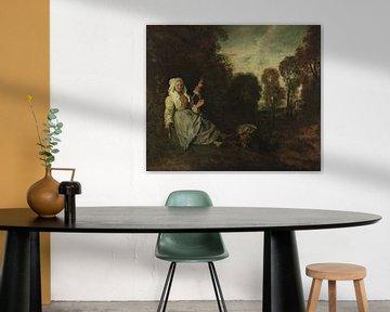 Abendlandschaft mitJungfer, Jean Antoine Watteau