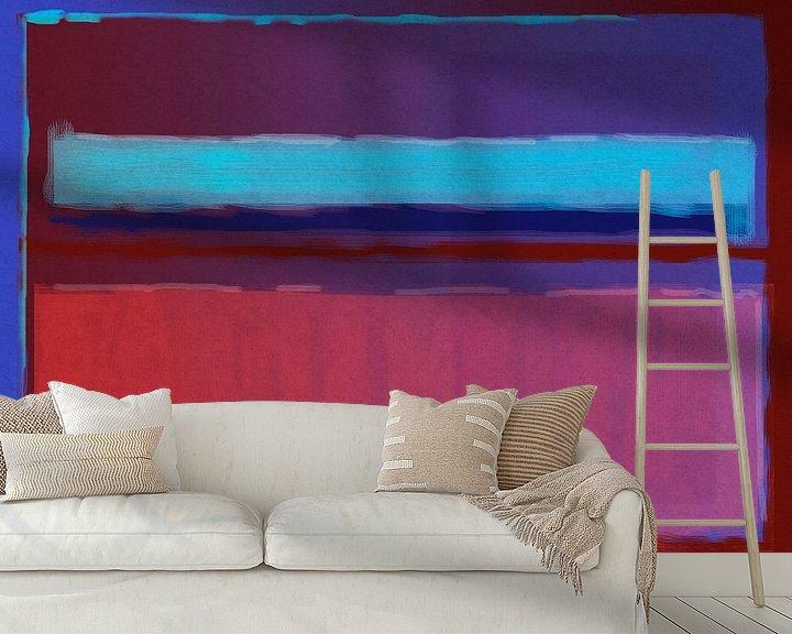 Impression: Peinture abstraite du bleu au rouge sur Rietje Bulthuis