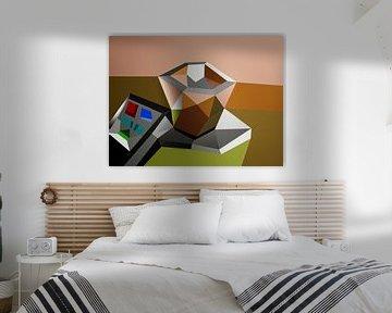 Tasse Kaffee mit Fernbedienung (2019) von Pat Bloom - Moderne 3D, abstracte kubistische en futurisme kunst