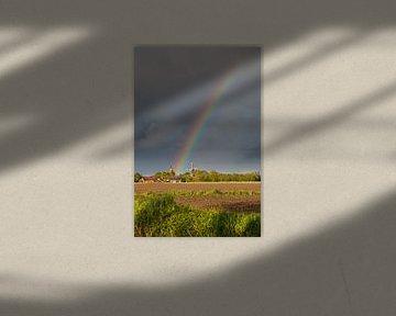 Regenboog boven Ostfriesland van Rolf Pötsch
