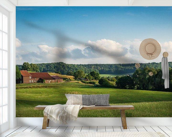 Sfeerimpressie behang: Boerderij in het Zuid-Limburgse landschap van Capture the Light