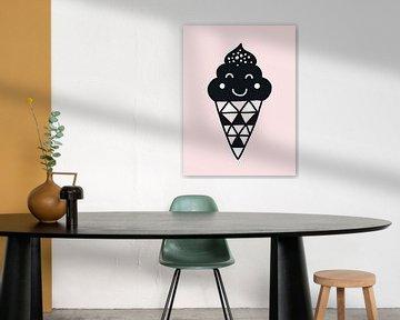 Ice Cream, zwart, wit en roze, voor de meidenkamer von AMB-IANCE .com