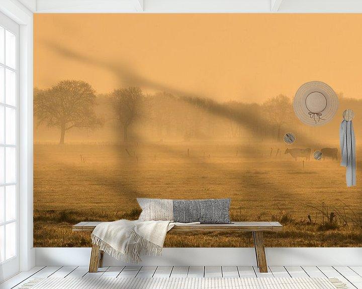 Sfeerimpressie behang: koeien in vroege ochtend van Martzen Fotografie