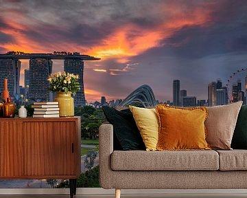 Sunsetview over Singapore van Bart Hendrix