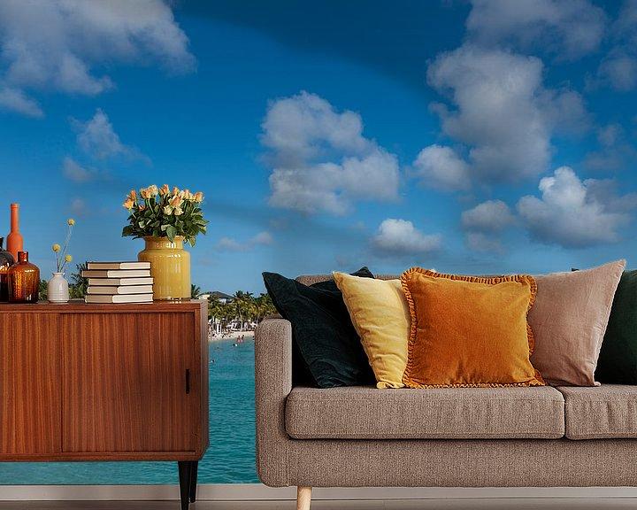 Sfeerimpressie behang: Curacao, Seaquarium beach van Keesnan Dogger Fotografie