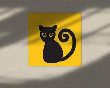 Zwarte digitale kat van Bianca Wisseloo