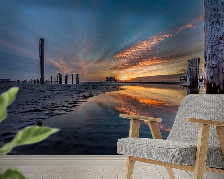 Beispiel fototapete: Sonnenuntergang Sankt Peter-Ording von Marco de Jong