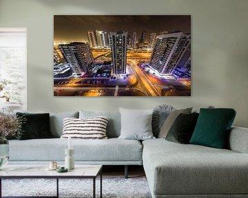 Dubai, nachtfoto met lange sluitertijd