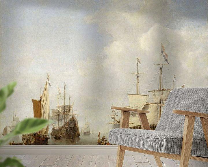 Beispiel fototapete: Ein holländisches Kriegsschiff vor Anker, Willen van de Velde der Jüngere
