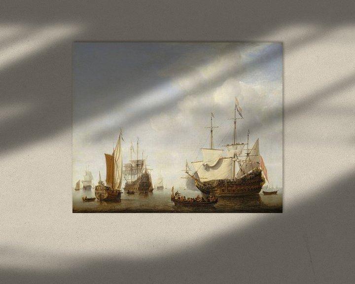 Beispiel: Ein holländisches Kriegsschiff vor Anker, Willen van de Velde der Jüngere