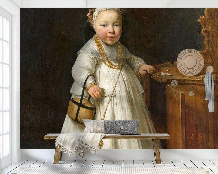Beispiel fototapete: Mädchen neben einem Kinderstuhl, Govert Flinck