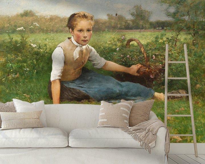 Beispiel fototapete: Blumen pflücken, Hugo Salmson