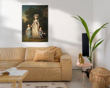 Königin Marie Antoinette von Frankreich und zwei ihrer Kinder gehen im Park von Trianon spazieren, A