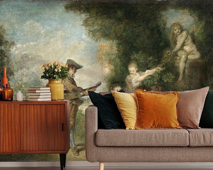 Beispiel fototapete: Die Liebesstunde, Antoine Watteau