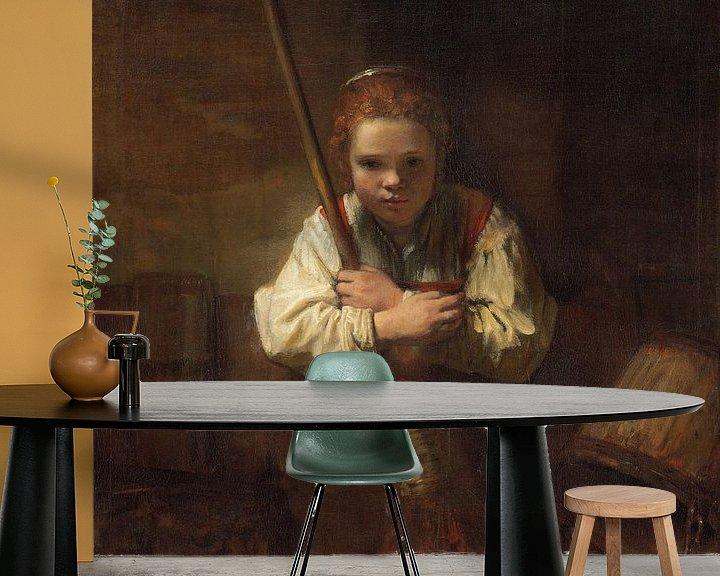 Beispiel fototapete: Mädchen mit Besen, Rembrandt und Carel Fabritius