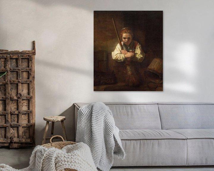 Beispiel: Mädchen mit Besen, Rembrandt und Carel Fabritius