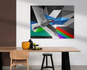 Rustiek abstract kleurrijk kunstwerk met een vogel en regenboog van Pat Bloom - Moderne 3D, abstracte kubistische en futurisme kunst