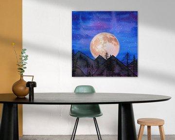 Mond über den Bergen von Bianca Wisseloo